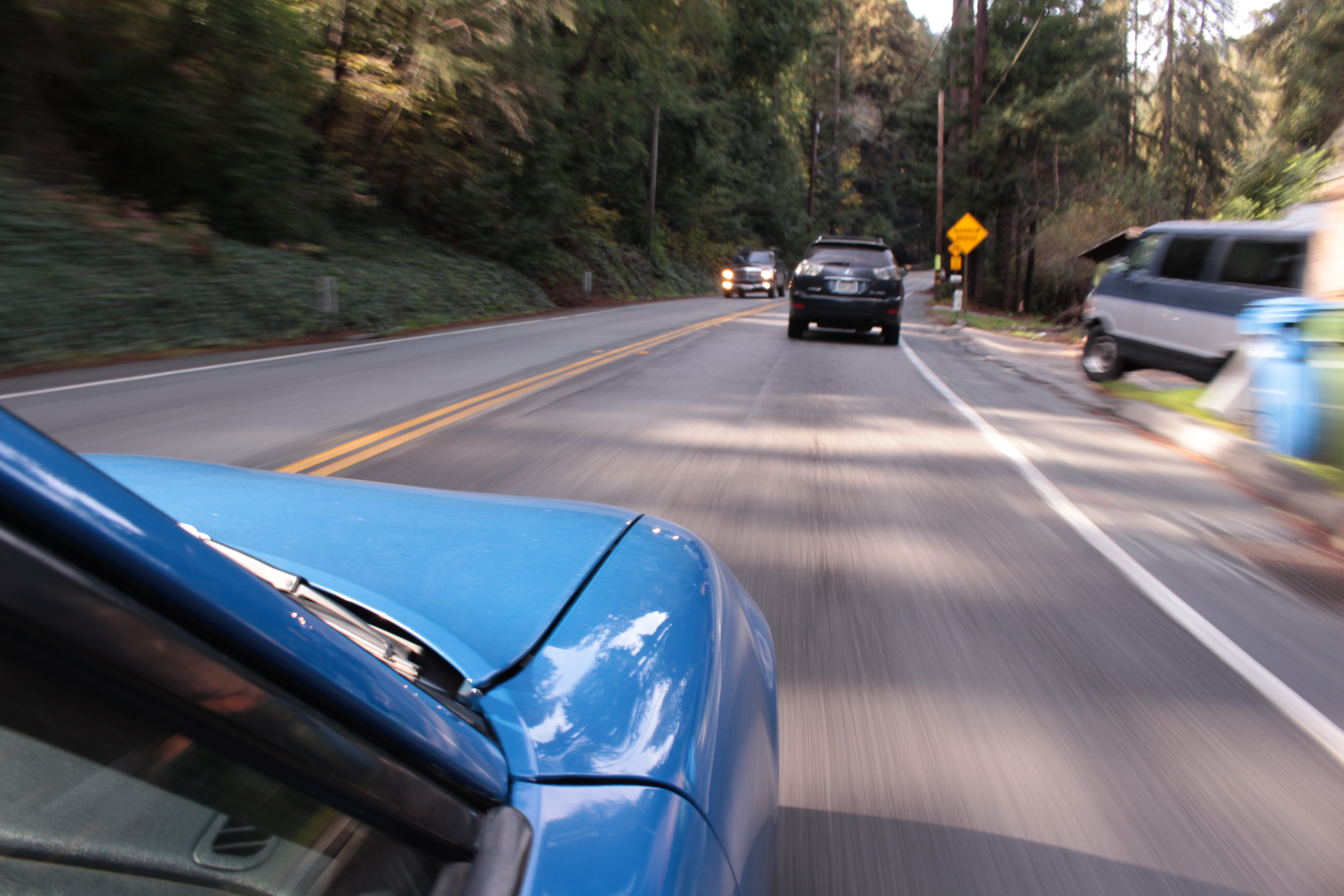 Michael and his Miata zoom through the Felton forests on Route 9